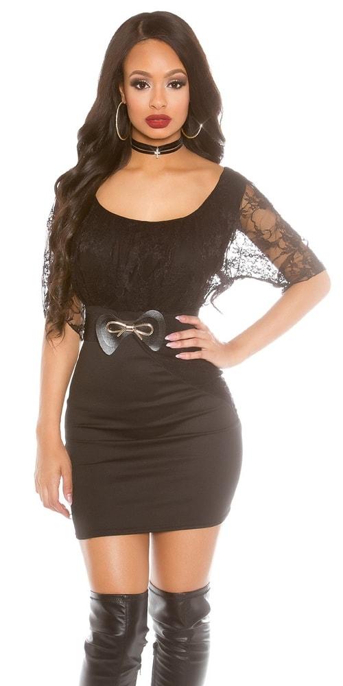 Černé krajkové mini šaty