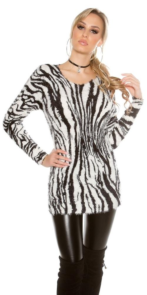 Dámský svetr - motiv zebry