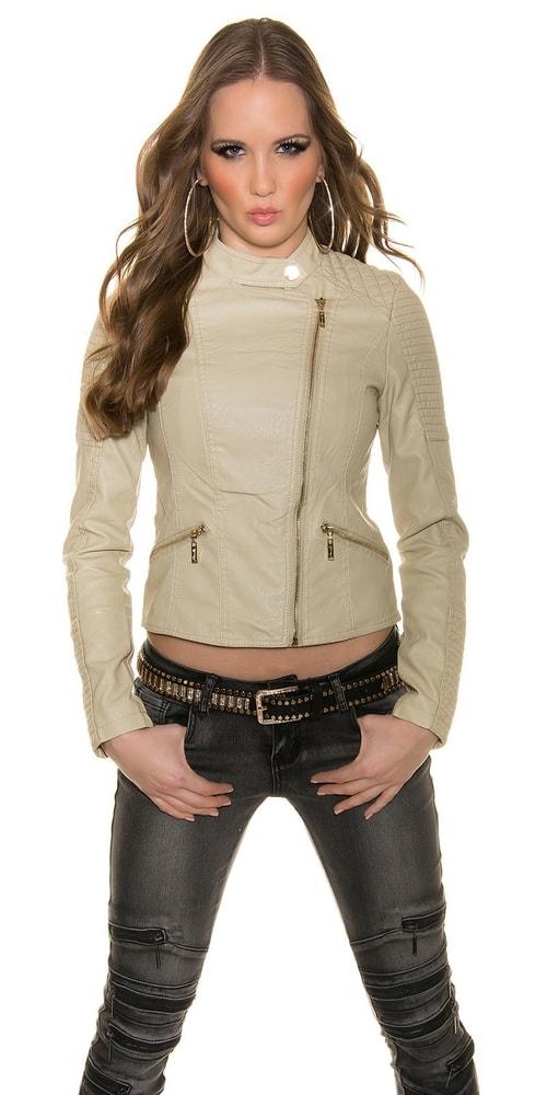 Stylová koženková bunda - béžová barva