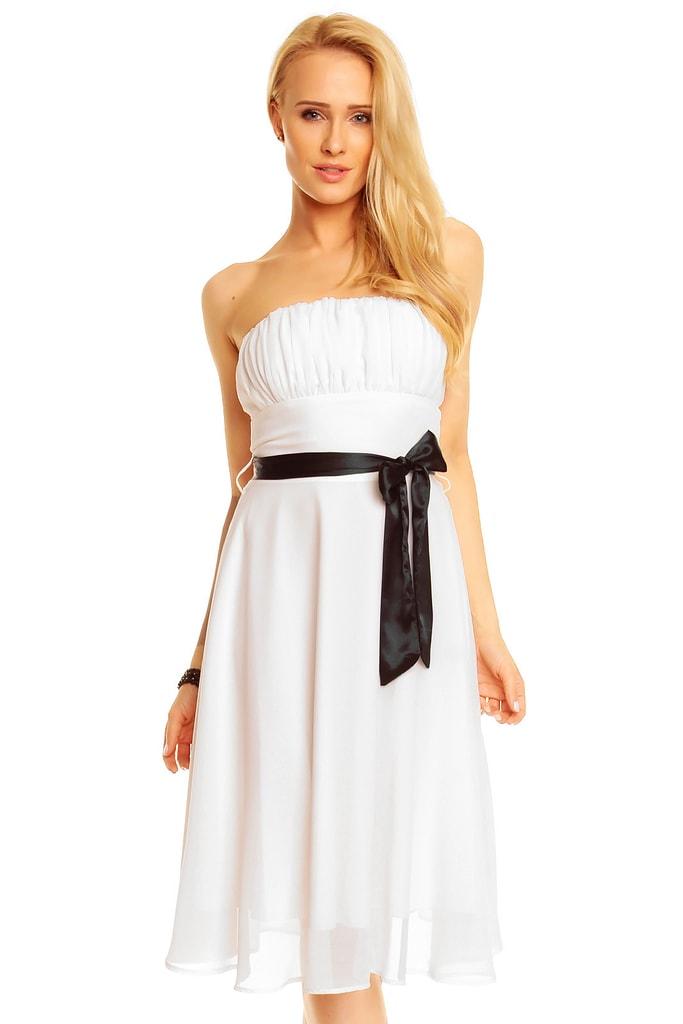 Mayaadi Bílé plesové šaty s mašlí