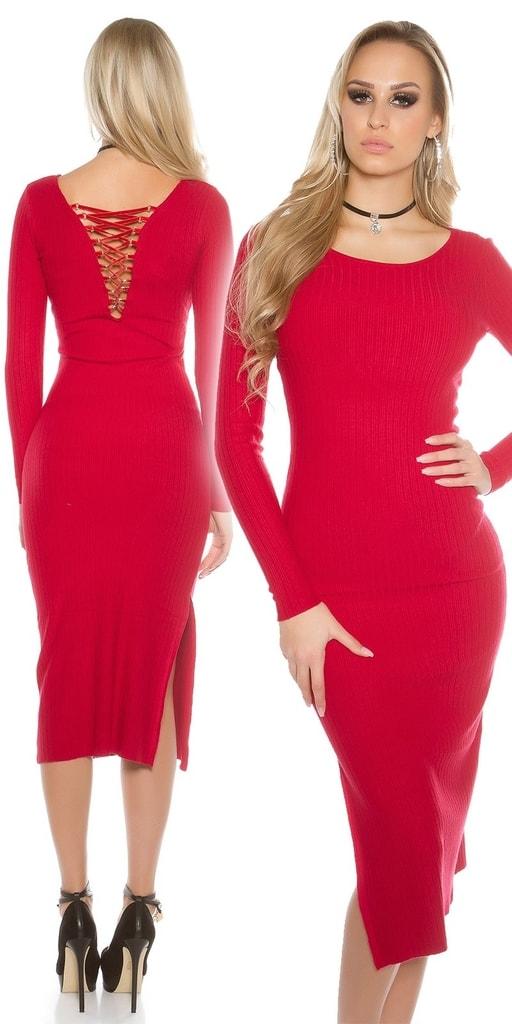 Koucla Dlouhé pletené šaty-červené