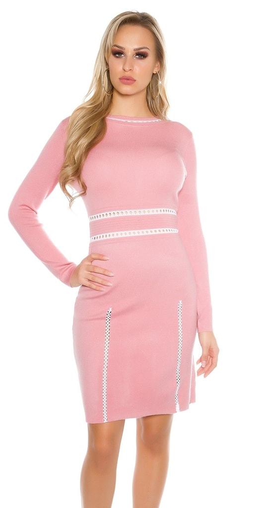 Koucla Dlouhé úpletové šaty-růžové