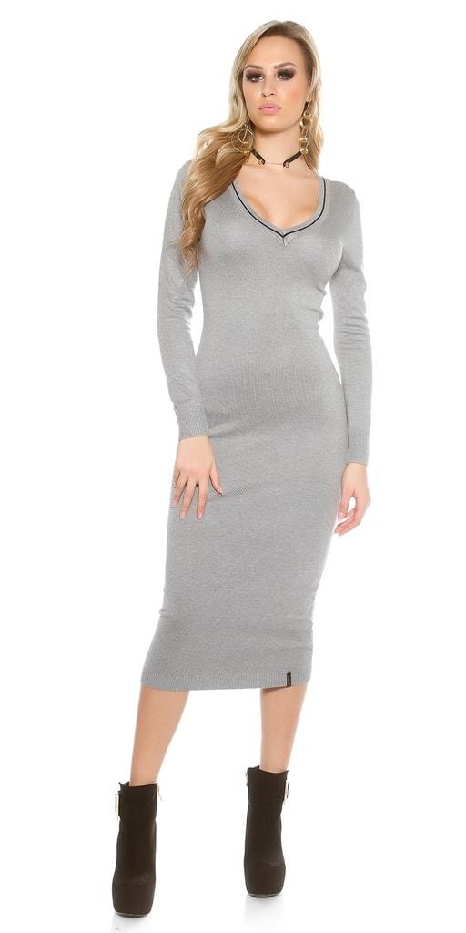 Šedé úpletové dámské šaty