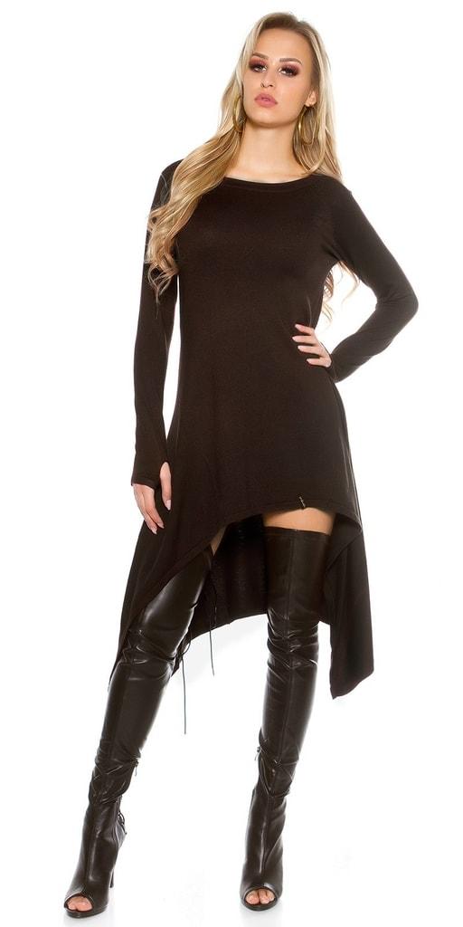 Koucla Černé dlouhé asymetrické šaty
