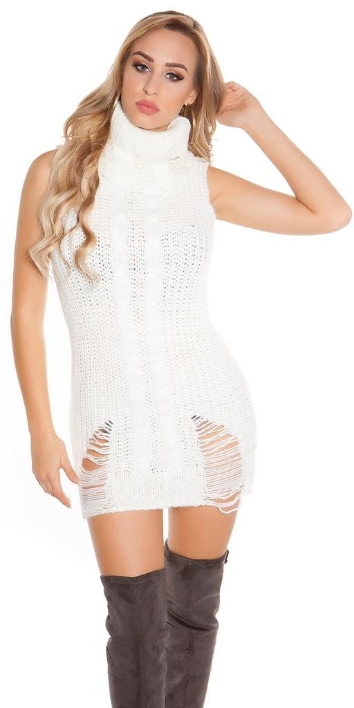 Koucla Pletené mini šaty bez rukávů