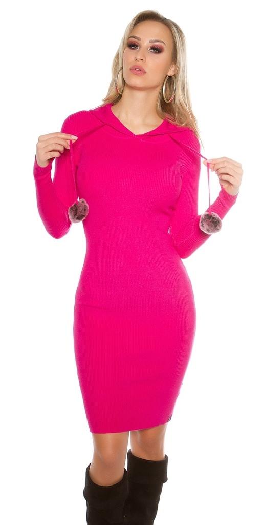 Koucla Dlouhé růžové úpletové šaty