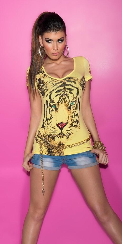 Koucla Letní tričko s potiskem-žluté