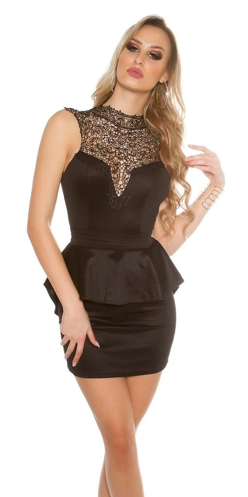 Koucla Krátké černé krajkové šaty