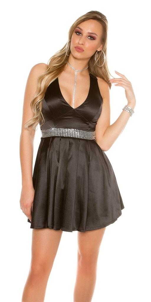 Koucla Černé dámské koktejlové šaty
