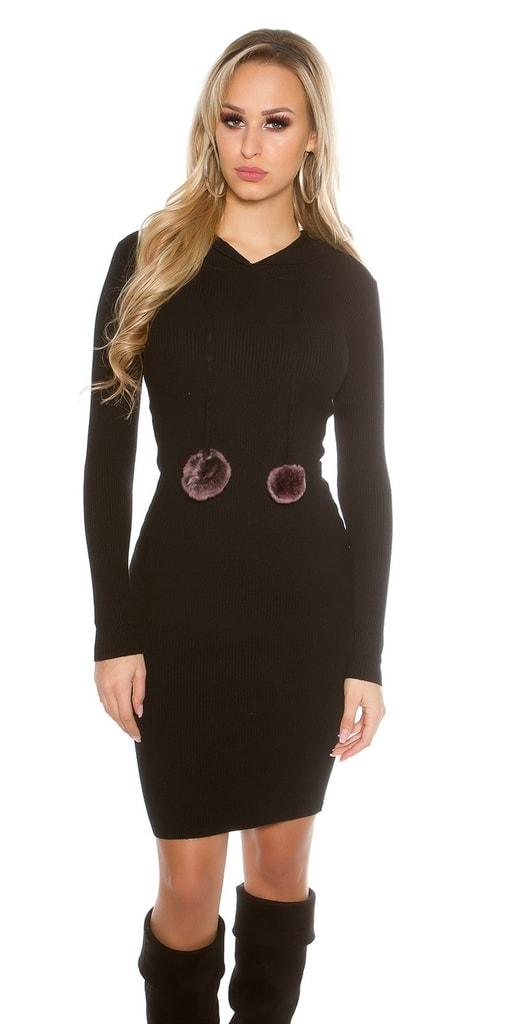Koucla Dlouhé černé šaty s kapucí