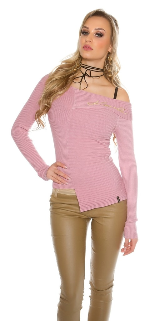 Koucla Růžový asymetrický svetr