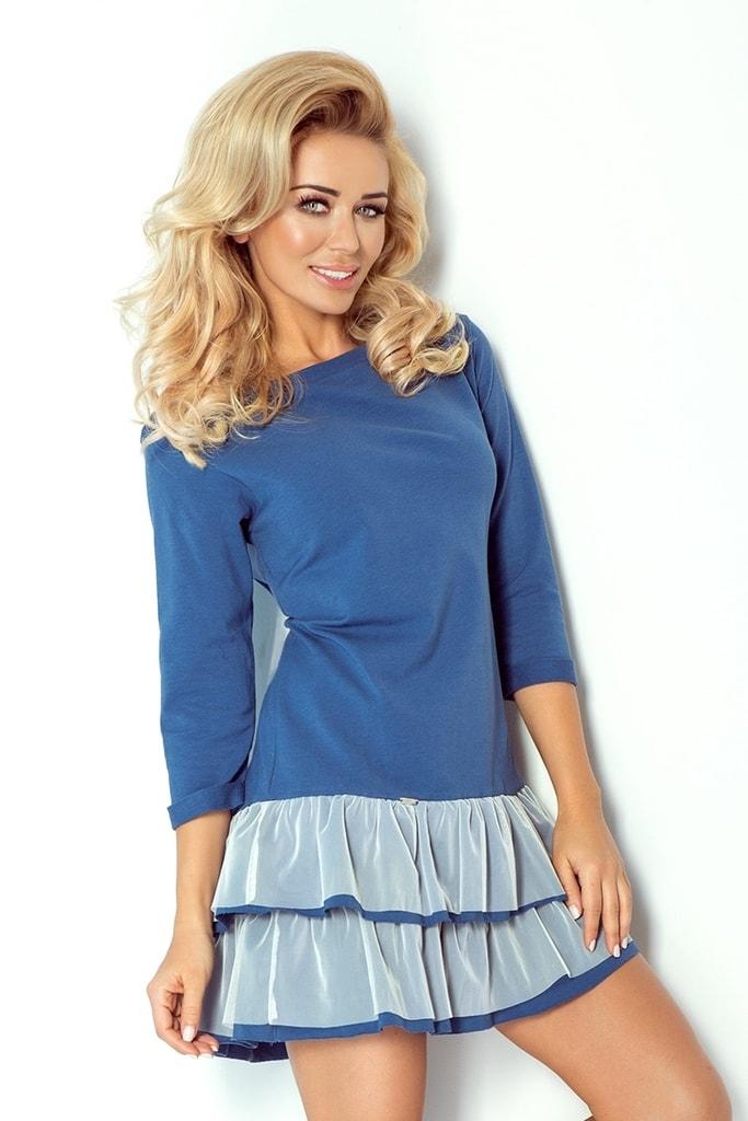 Numoco Dámské modré šaty s volánky 106-1