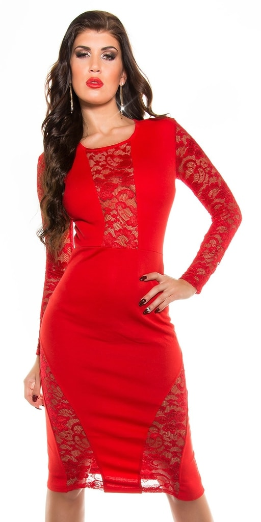 Koucla Červené šaty s krajkou