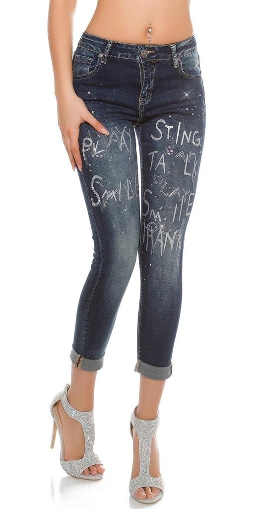 Koucla Dámské džíny s potiskem