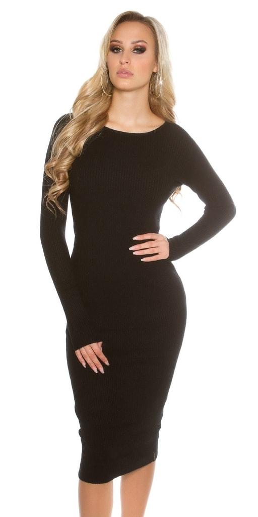 Koucla Černé dámské pletené šaty