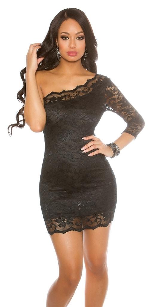 Koucla Černé mini šaty s krajkou