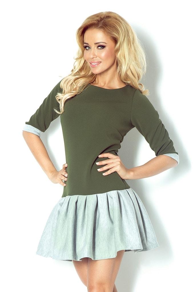 Numoco Zelené šaty s šedou sukní 86-3