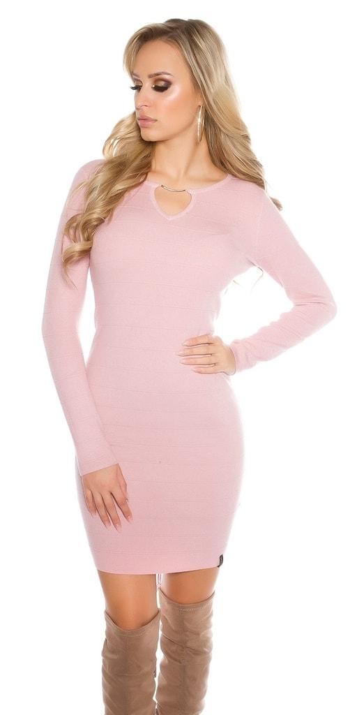 Koucla Dámské růžové úpletové šaty
