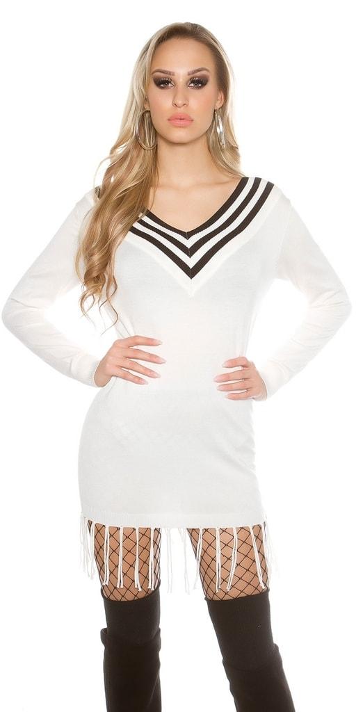 Koucla Bílý dámský dlouhý svetr
