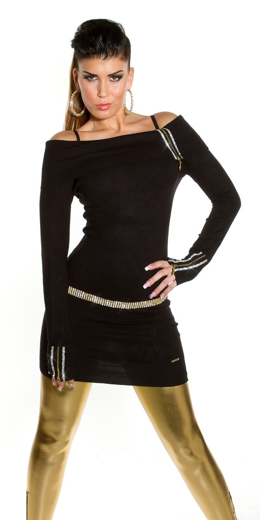 Koucla Elegantní úpletová tunika černá