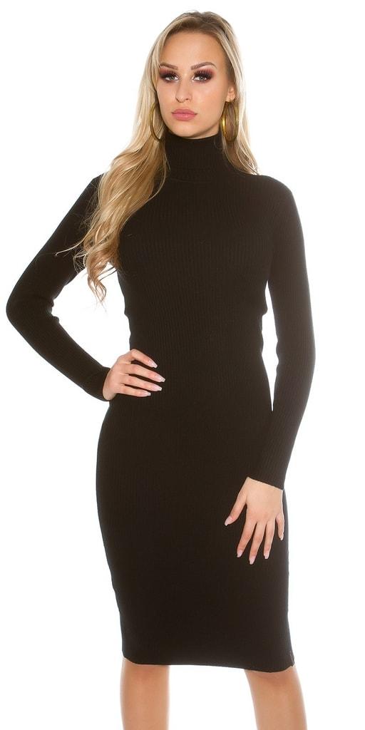 Koucla Černé pletené šaty s rolákem