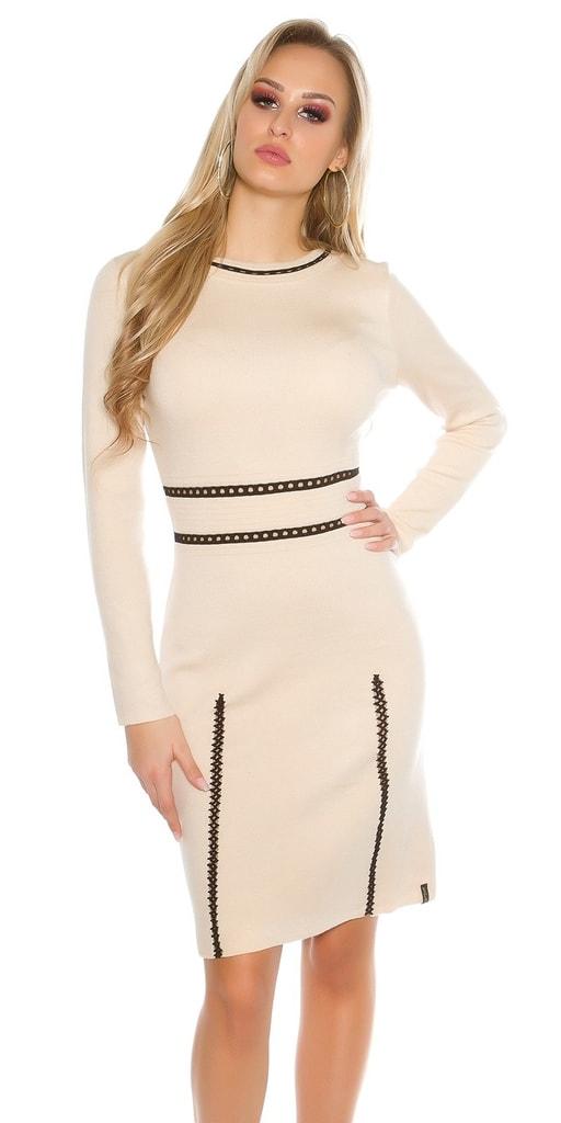 Koucla Dámské úpletopvé dlouhé šaty