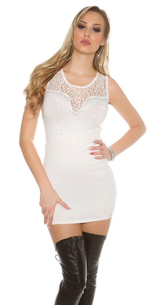 Koucla Bílé dámské mini šaty