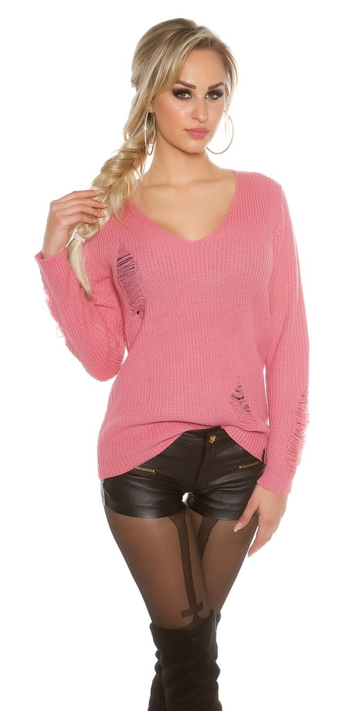 Koucla Dámský extravagantní svetr-růžový