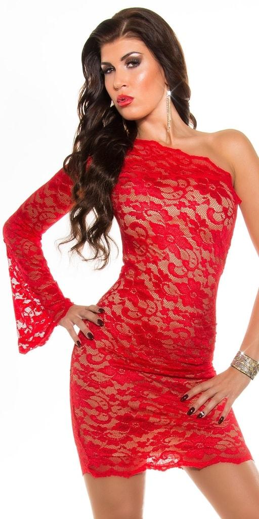 Koucla Červené krajkové šaty
