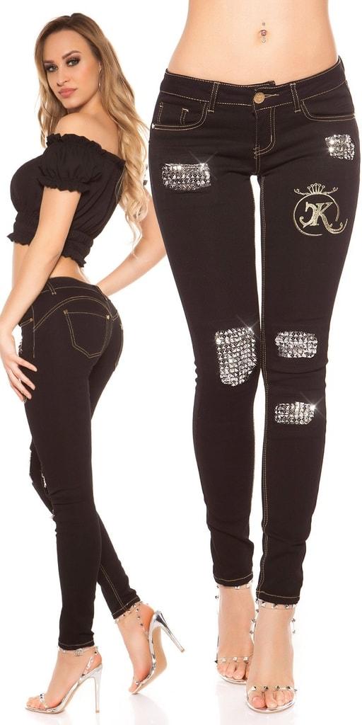 Koucla Černé džíny s kamínky