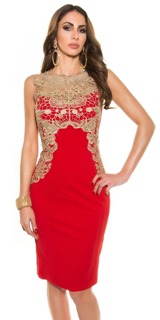 Koucla Dámské pouzdrové šaty-červené