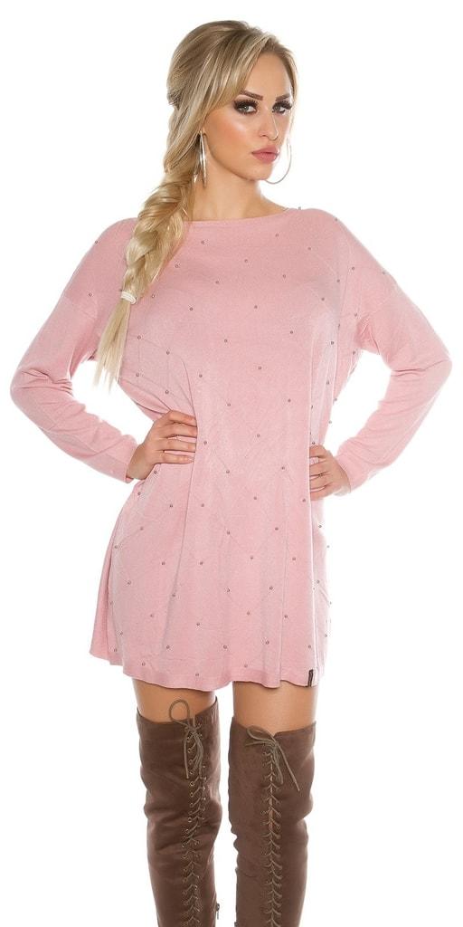 Koucla Dámský široký svetr-růžový