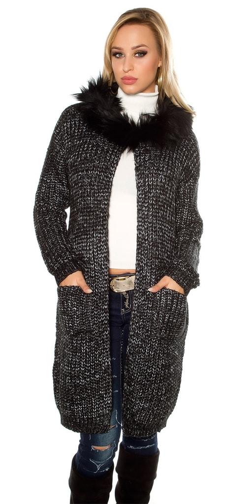 Koucla Dámský pletený kardigan s kapucí