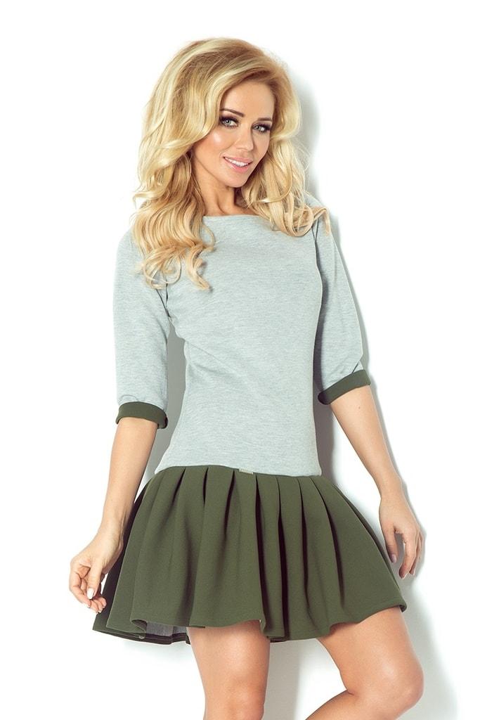 Numoco Šedé šaty se zelenou sukni 86-4