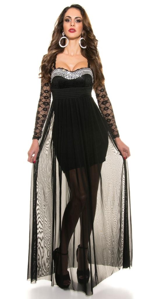 Koucla Černé dlouhé plesové šaty
