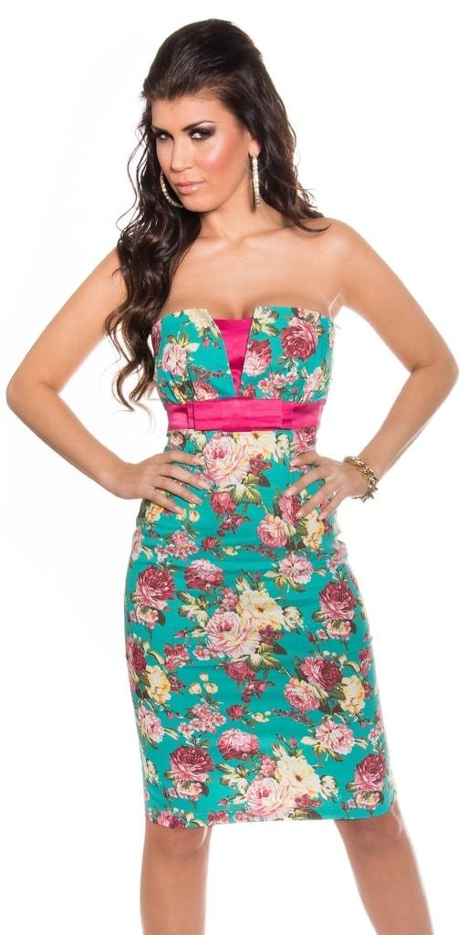 Koucla Květované koktejlové šaty