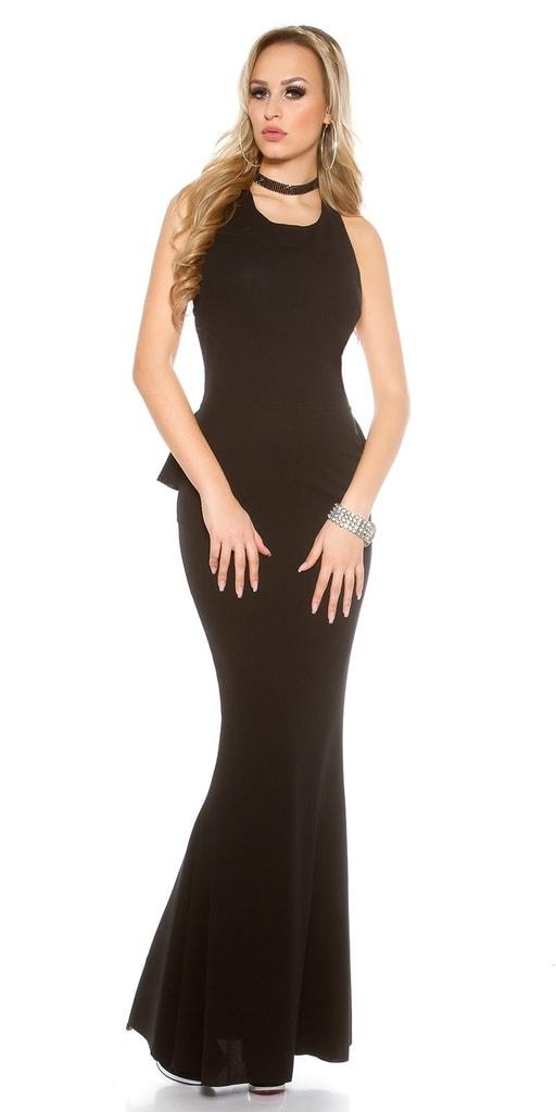 Koucla Černé dámské dlouhé šaty