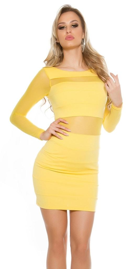 Koucla Žluté sexy dámské šaty