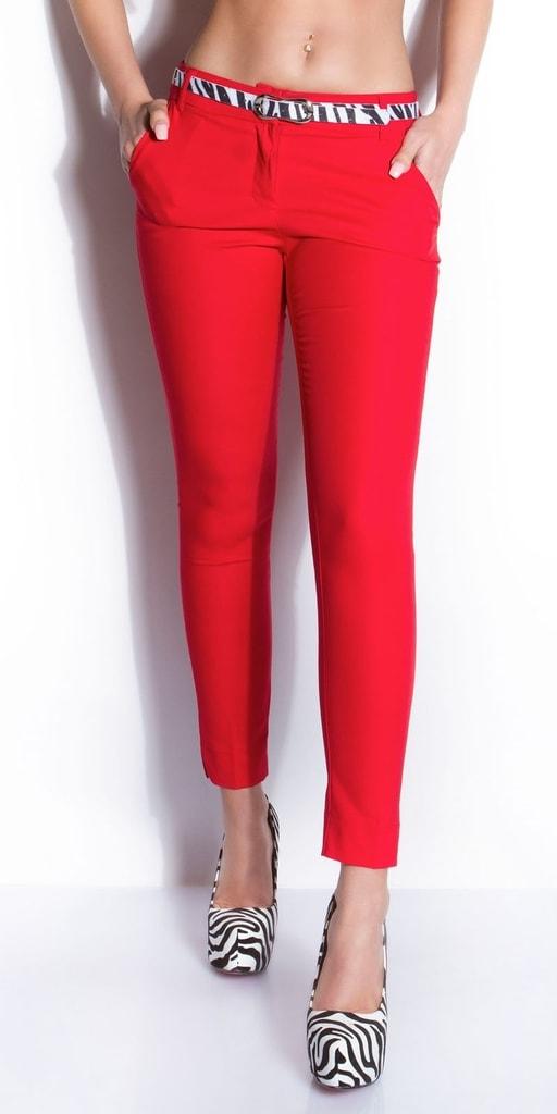 Koucla Červené dámské kalhoty s páskem