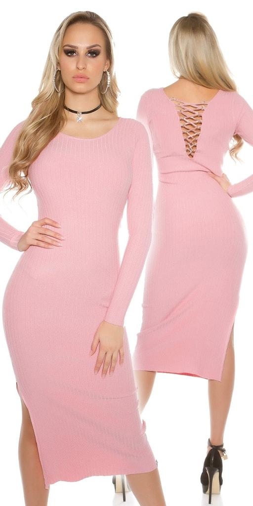 Koucla Dámské delší růžové šaty