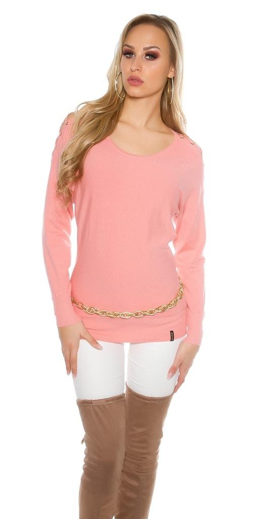 Koucla Růžový dámský pulovr