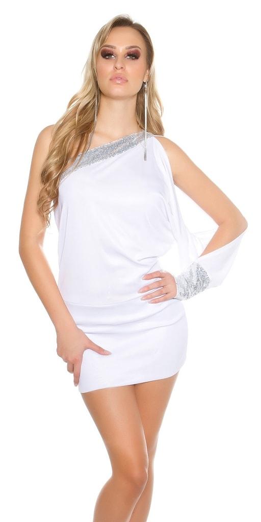 Koucla Bílé mini šaty na jedno rameno