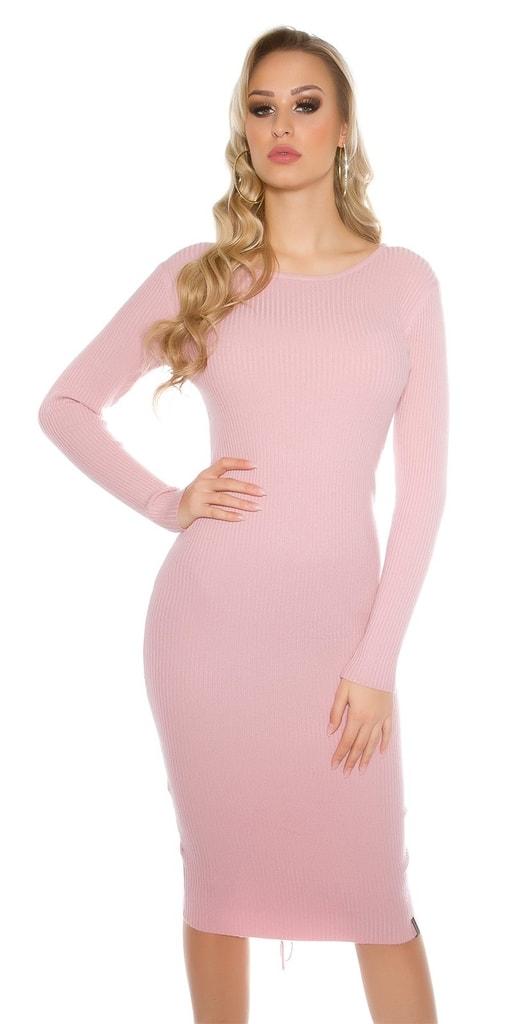 Koucla Růžové dámské pletené šaty