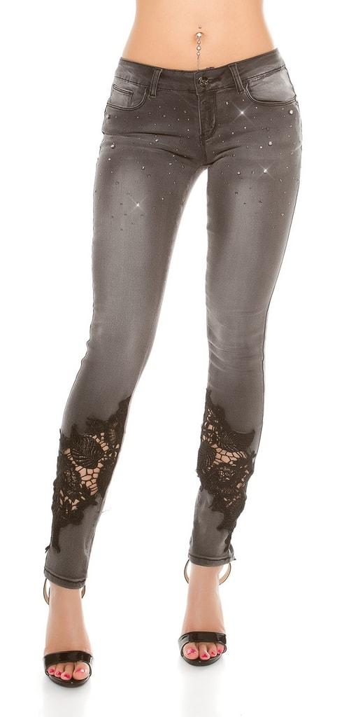 Koucla Černé dámské džíny s kamínky