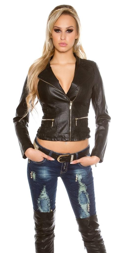 Koucla Černá koženková bunda