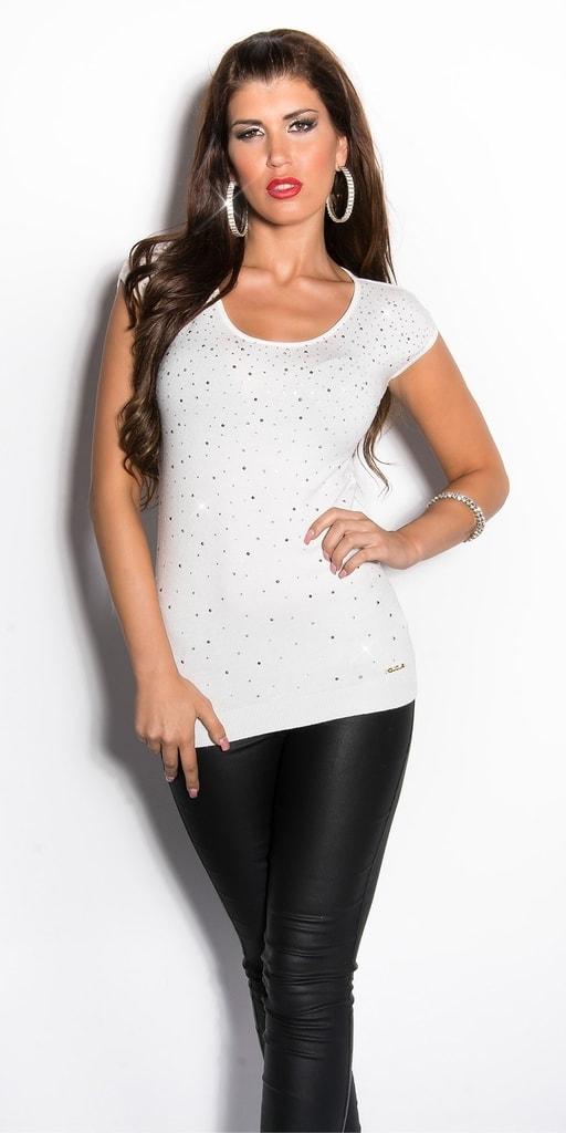 Koucla Dámské bílé úpletové tričko