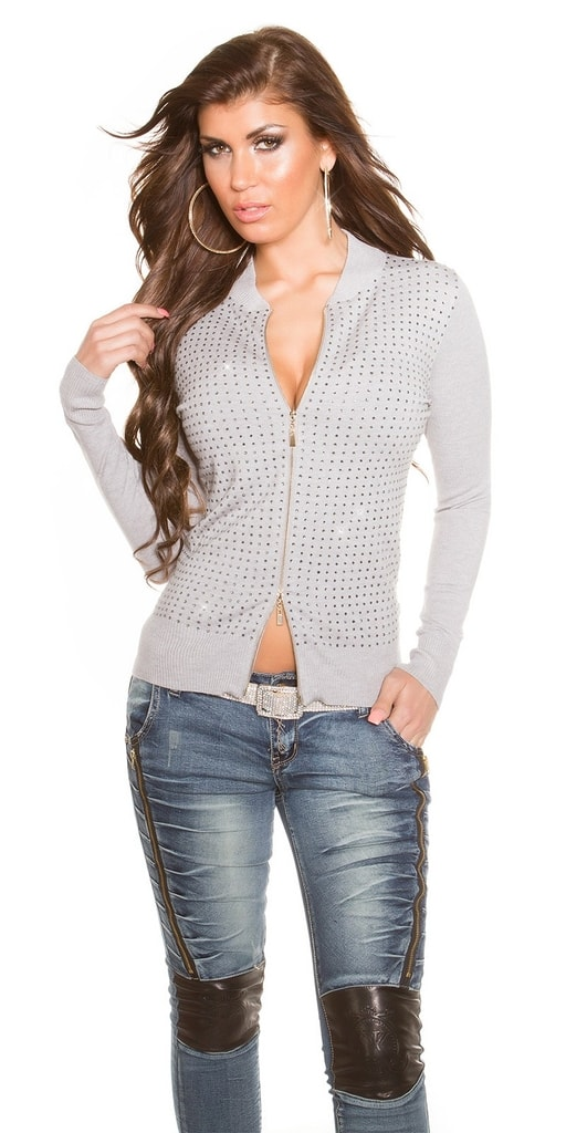 Koucla Trendy svetr na zip-šedý