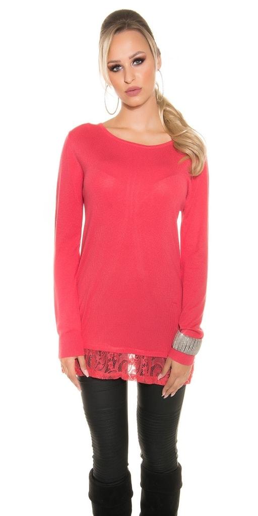 Koucla Elegantní pulovr s krajkou