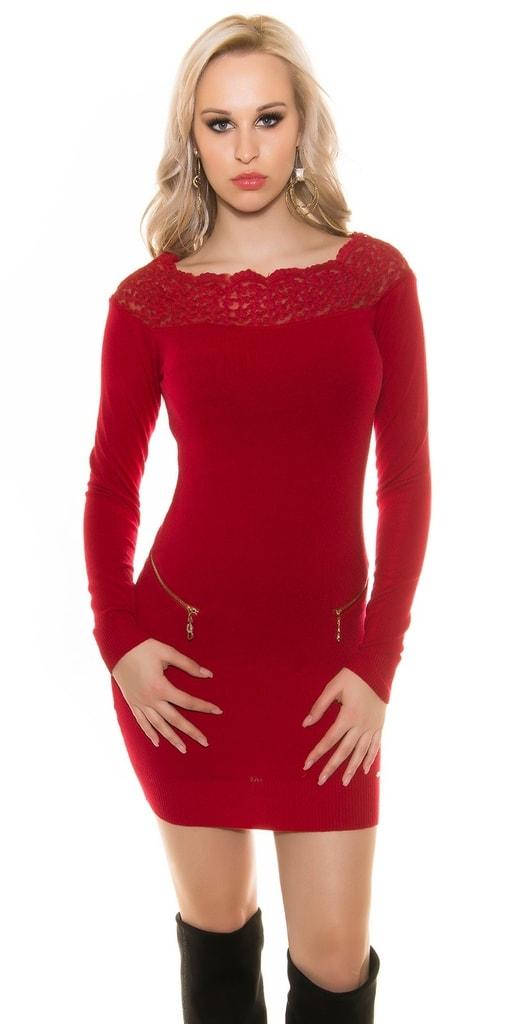 Koucla Elegantní úpletové šaty s krajkou cad155a89f5