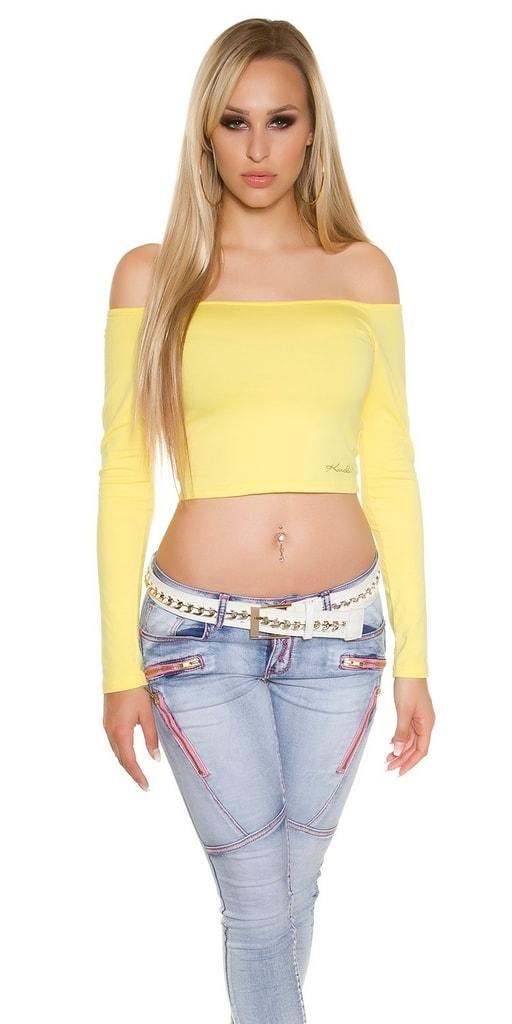 Koucla Letní crop top-žlutý